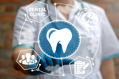 Dental, assurance, healthcare concept - dentist presses tooth icon. Health odontic service, support. Dental treatment. Medical, assistance, wellness, insourance, doctor, dentistry, clinic, dent, emr.