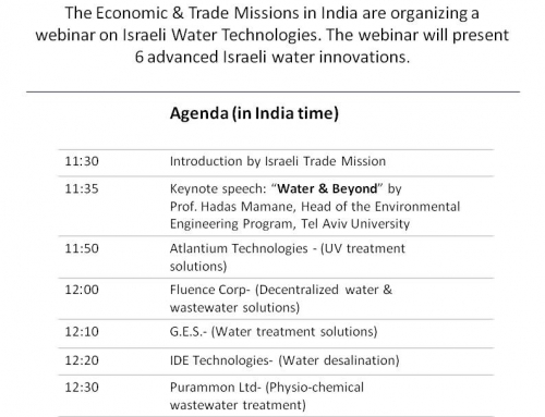"""Israel-India Water-Tech Day"""" webinar on Tuesday, 6th July 2021"""