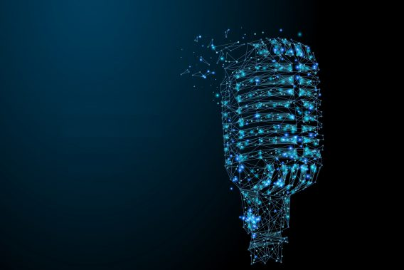 microphone low poly blue